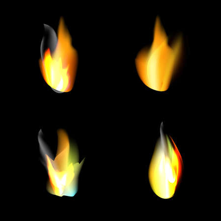 Set of realistic fire flames on black background. Vector illustration