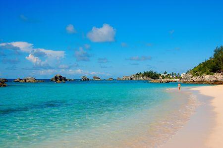 woman on tropical pink sand beach  photo