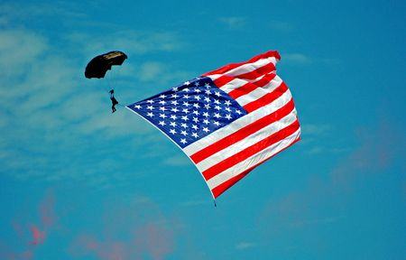 Skydiver with US Flag Stock Photo