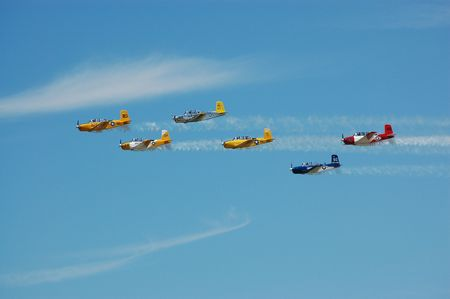 vintage military aircraft in formation flight