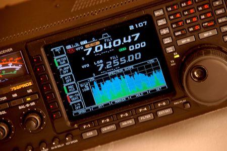 transmit: Modern high frequency communications radio Stock Photo