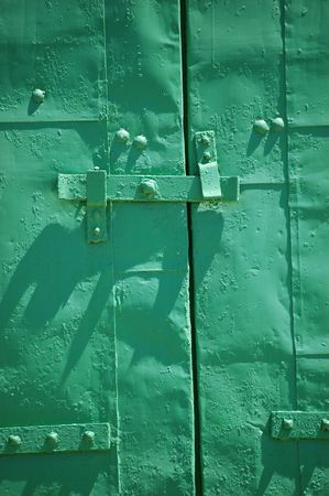 shutter: green metal window shutter Stock Photo