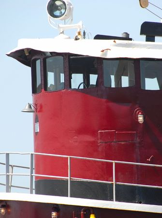 superstructure: Tugboat superstructure in red Stock Photo