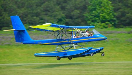 airplane ultralight: experimental aircraft in landing configuration