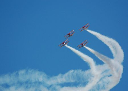 biplanes in formation at airshow Stock Photo