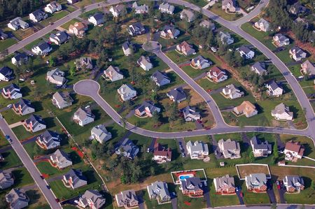 suburban street: aerial view of residential subdivision