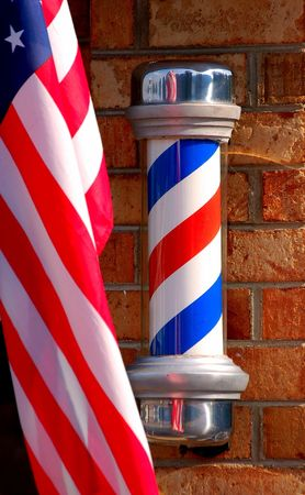 barber pole with American flag photo