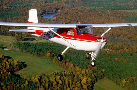 aviators: light aircraft in flight Stock Photo