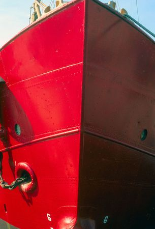 ship bow: bow of a red ship