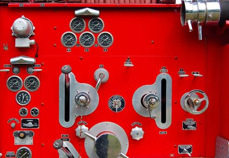 vintage fire engine panel horizontal view