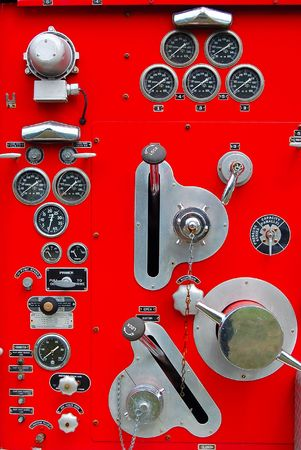 vintage fire engine panel vertical view