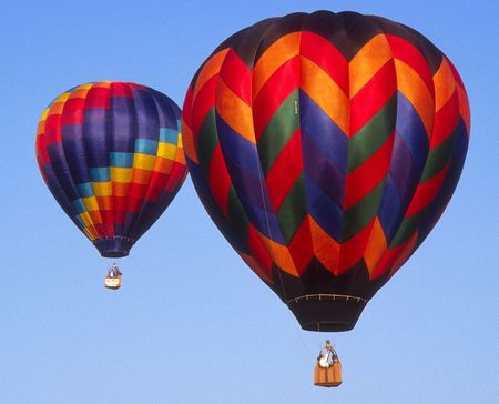 colorful hotair balloons in flight Banco de Imagens