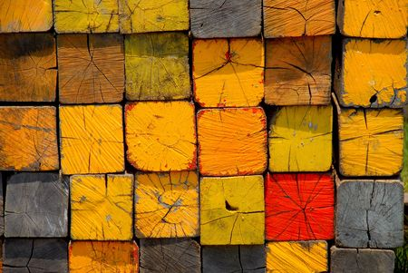 stacked lumber with color codes Banco de Imagens