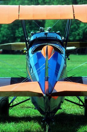 rear view of vintage biplane