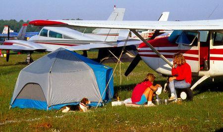 airplane camping at airshow