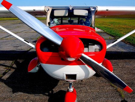 front view of a small training airplane