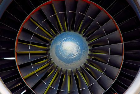 turbofan: front view of jet aircraft engine