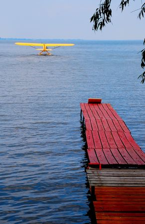 floats: airplane on floats and dock