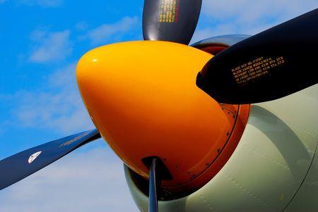 vintage airplane propeller and engine Banco de Imagens