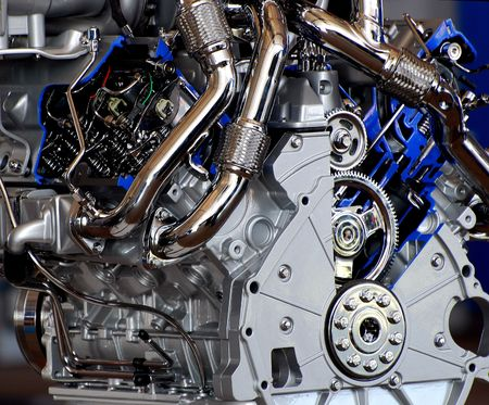 cutaway of high performance auto engine