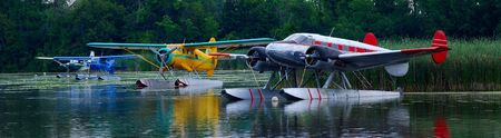 seaplane base on a traquil lake Banco de Imagens