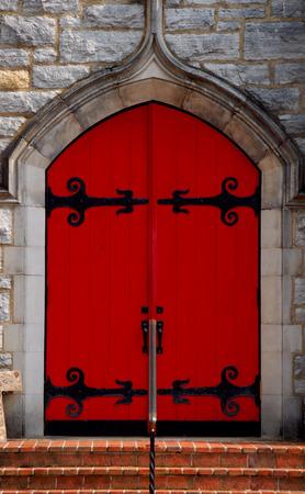 red church door Banco de Imagens