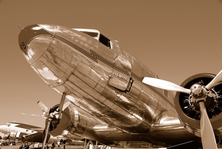 classic airliner in sepia  Фото со стока