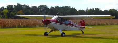 vintage airplane on a grass landing field Banco de Imagens