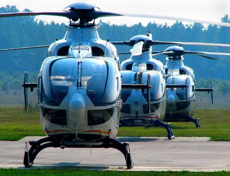 aero: Three helicopters on the airport ramp