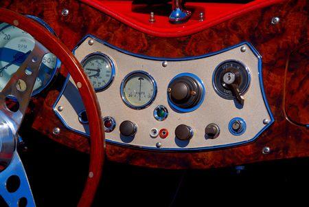 interior of classic sports car Banco de Imagens