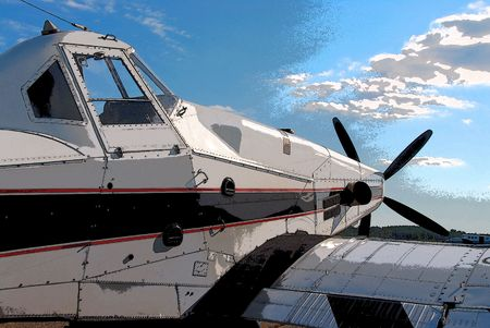 turboprop: posterized version of a crop dusting airplane