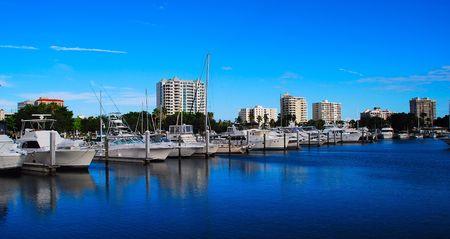 city marina and skyline Banco de Imagens