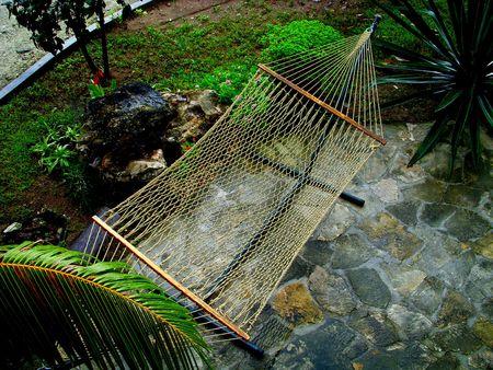 hammock in a tropical courtyard