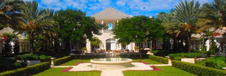 panorama view of Caribbean courtyard