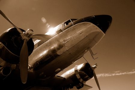 classic airliner in sepia