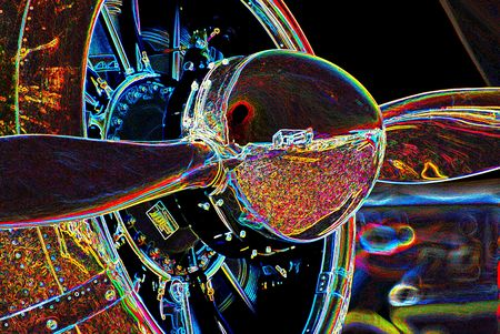 neon image of aircraft propeller and engine