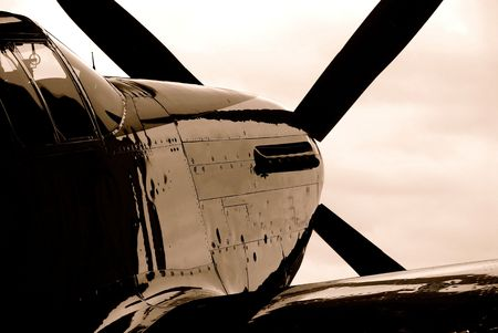 aeronautical: Vintage military fighter in sepia