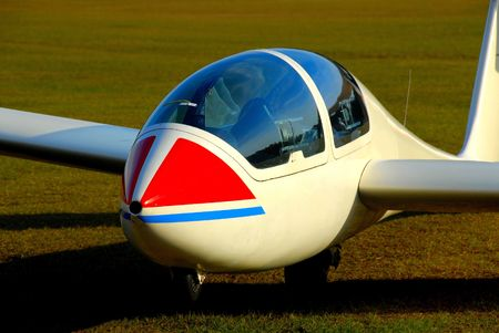front view of a modern sailplane on ground Banco de Imagens