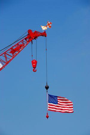 American flag on construction crane
