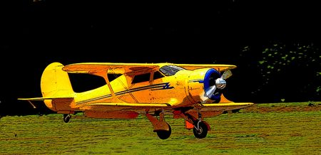 posterized image of classic biplane
