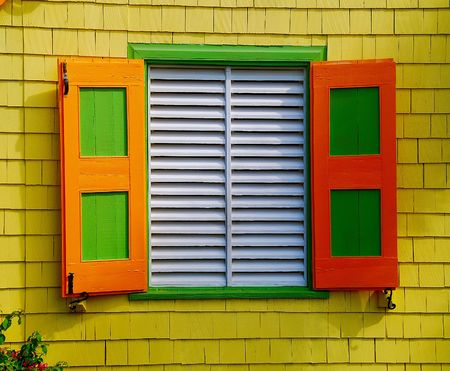 colorful tropical window Banco de Imagens