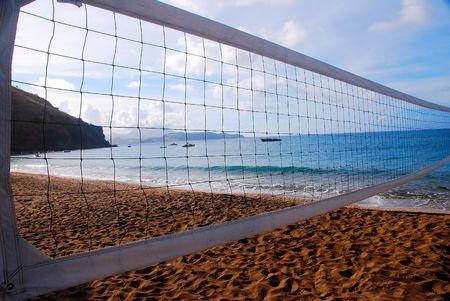volleyball net on tropical beach