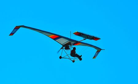 ultralight aircraft in flight Banco de Imagens