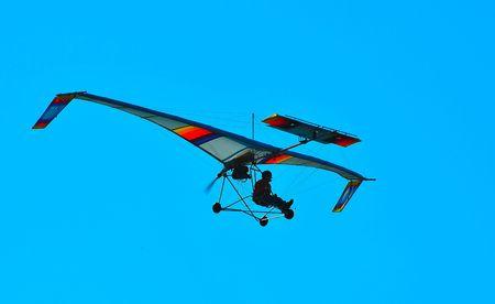 airplane ultralight: ultralight aircraft in flight Stock Photo