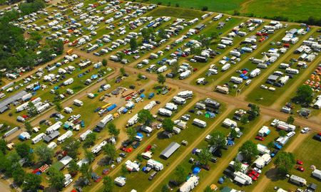 aerial view of a large campground