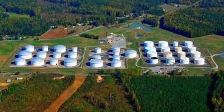 to refine: aerial view of a tankfarm