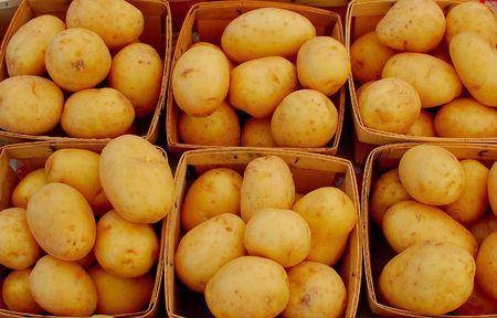 potatos: baskets of potatos