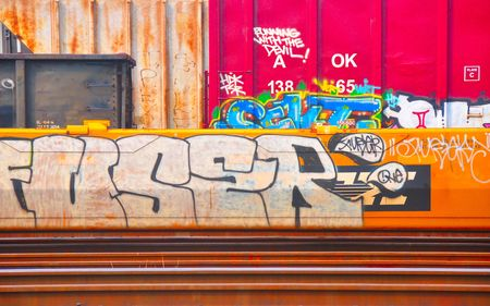 graffti in railyard, Crew, VA,  July 8, 2010