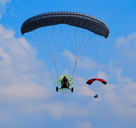 airplane ultralight: powered parachutes Stock Photo