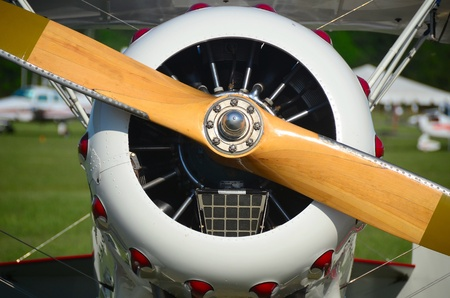 wood aircraft propeller and radial engine Banco de Imagens